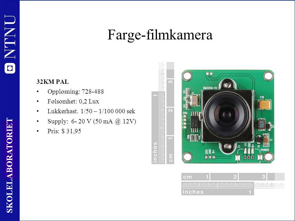 67 SKOLELABORATORIET Farge-filmkamera 32KM PAL Oppløsning: 728-488 Følsomhet: 0,2 Lux Lukkerhast.