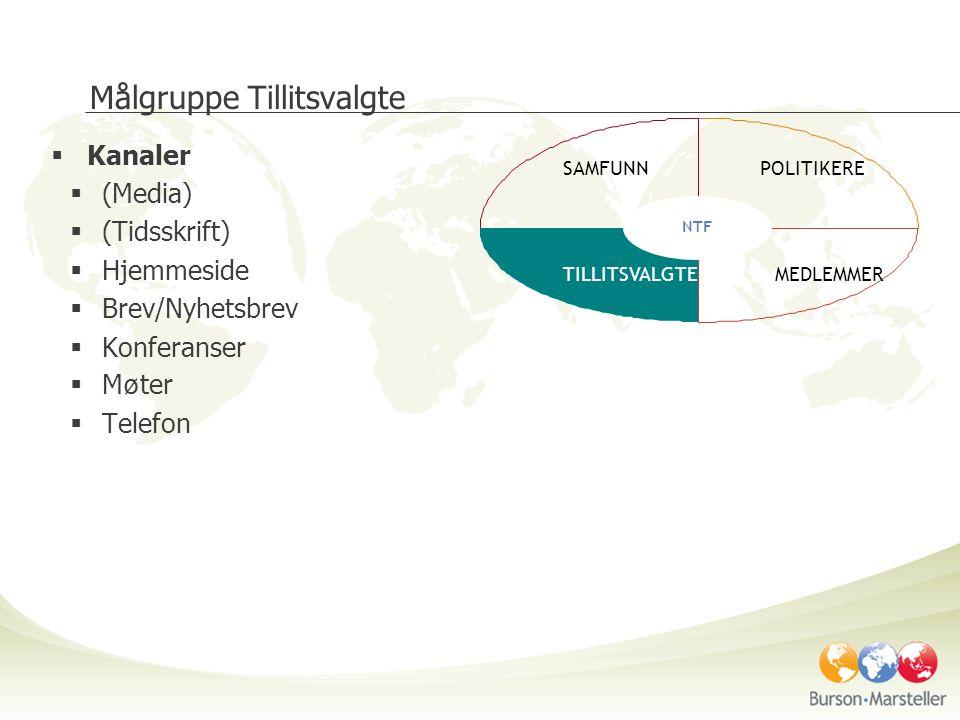 Målgruppe Tillitsvalgte  Kanaler  (Media)  (Tidsskrift)  Hjemmeside  Brev/Nyhetsbrev  Konferanser  M ø ter  Telefon SAMFUNNPOLITIKERE TILLITSVALGTEMEDLEMMER NTF