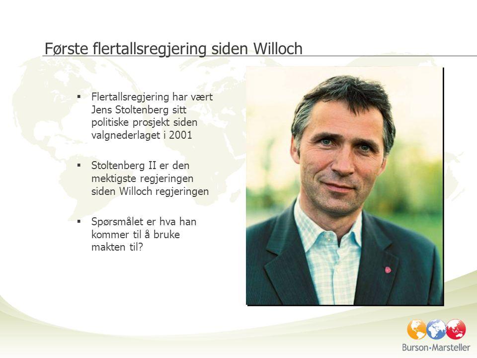 Første flertallsregjering siden Willoch  Flertallsregjering har vært Jens Stoltenberg sitt politiske prosjekt siden valgnederlaget i 2001  Stoltenberg II er den mektigste regjeringen siden Willoch regjeringen  Spørsmålet er hva han kommer til å bruke makten til