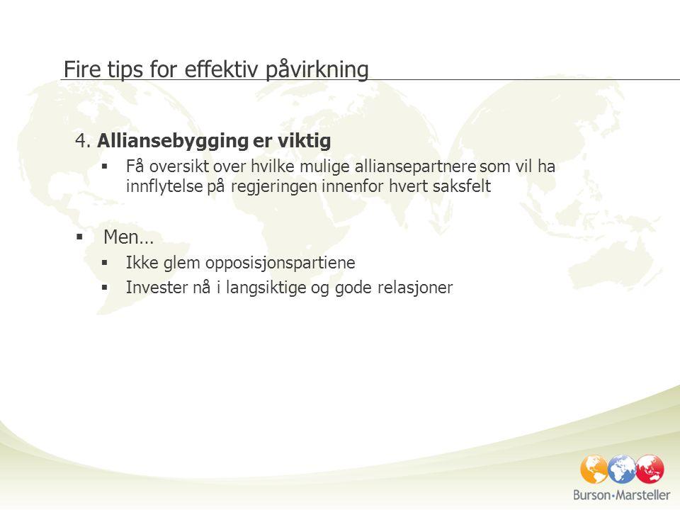 Fire tips for effektiv påvirkning 4. Alliansebygging er viktig  Få oversikt over hvilke mulige alliansepartnere som vil ha innflytelse på regjeringen