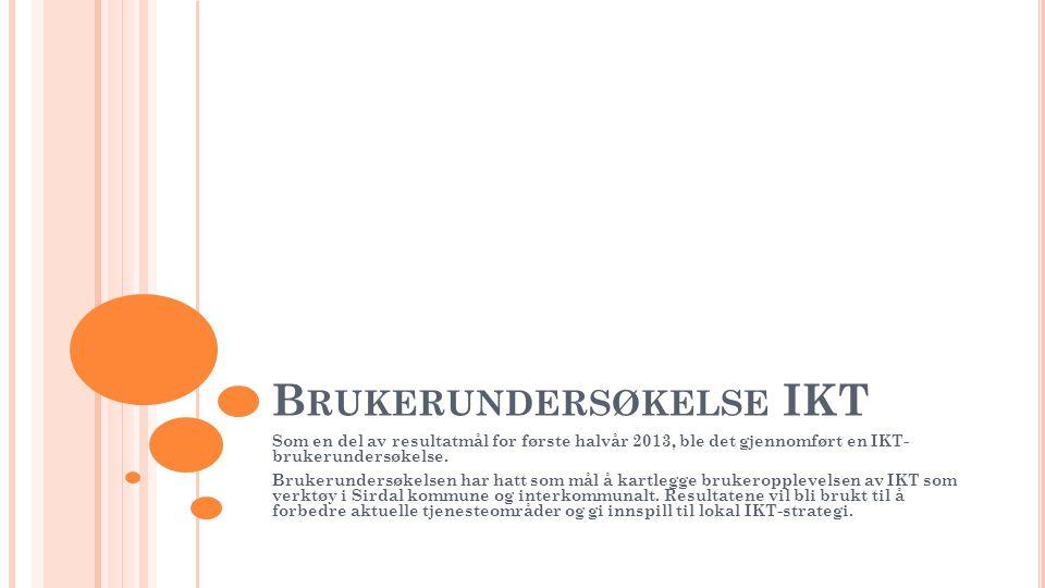 B RUKERUNDERSØKELSE IKT Som en del av resultatmål for første halvår 2013, ble det gjennomført en IKT- brukerundersøkelse.