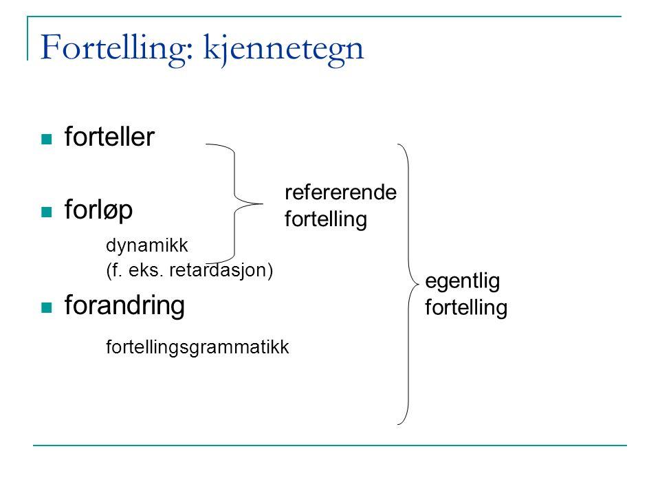 Fortellingsgrammatikk Åpning med bakgrunn og igangsettende handling Komplikasjon/konflikt som gjerne topper seg i et høydepunkt Løsning/avslutning der