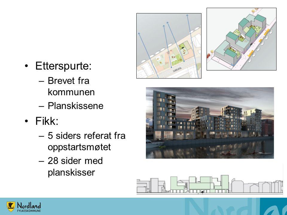 Etterspurte: –Brevet fra kommunen –Planskissene Fikk: –5 siders referat fra oppstartsmøtet –28 sider med planskisser