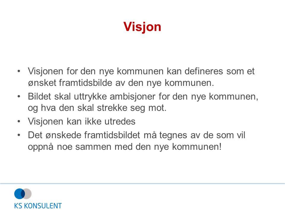 Visjon Visjonen for den nye kommunen kan defineres som et ønsket framtidsbilde av den nye kommunen. Bildet skal uttrykke ambisjoner for den nye kommun