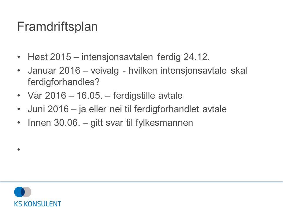 Høst 2015 – intensjonsavtalen ferdig 24.12. Januar 2016 – veivalg - hvilken intensjonsavtale skal ferdigforhandles? Vår 2016 – 16.05. – ferdigstille a