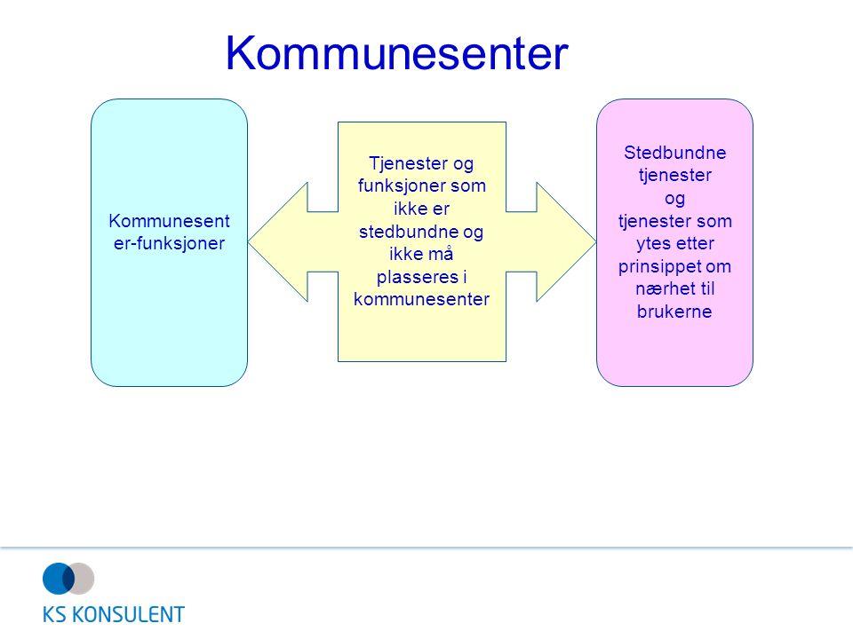 Tjenester og funksjoner som ikke er stedbundne og ikke må plasseres i kommunesenter Kommunesent er-funksjoner Stedbundne tjenester og tjenester som ytes etter prinsippet om nærhet til brukerne Kommunesenter