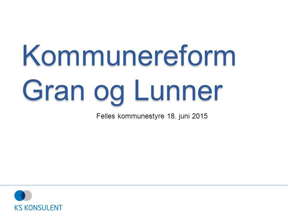 Kommunereform Gran og Lunner Felles kommunestyre 18. juni 2015