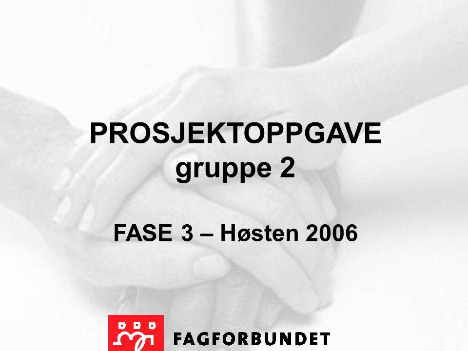 PROSJEKTOPPGAVE gruppe 2 FASE 3 – Høsten 2006