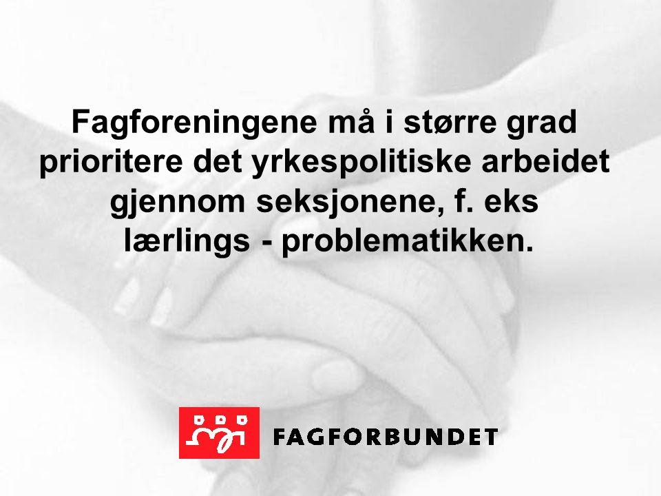 Fagforeningene må i større grad prioritere det yrkespolitiske arbeidet gjennom seksjonene, f.
