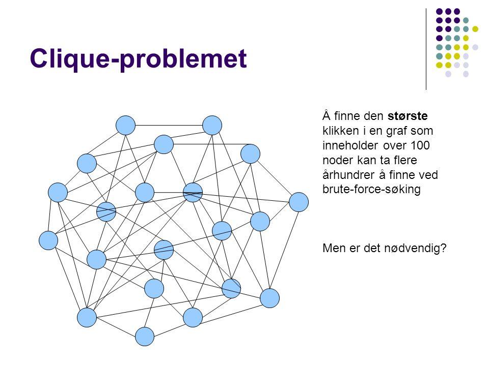 Clique-problemet Å finne den største klikken i en graf som inneholder over 100 noder kan ta flere århundrer å finne ved brute-force-søking Men er det nødvendig