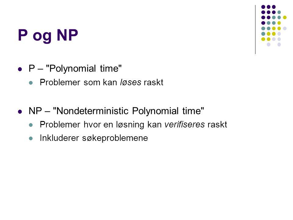P og NP P – Polynomial time Problemer som kan løses raskt NP – Nondeterministic Polynomial time Problemer hvor en løsning kan verifiseres raskt Inkluderer søkeproblemene