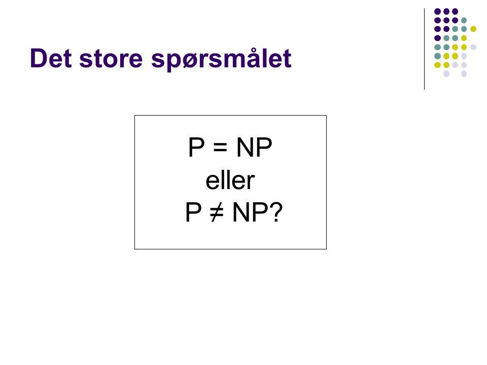 Det store spørsmålet P = NP eller P ≠ NP
