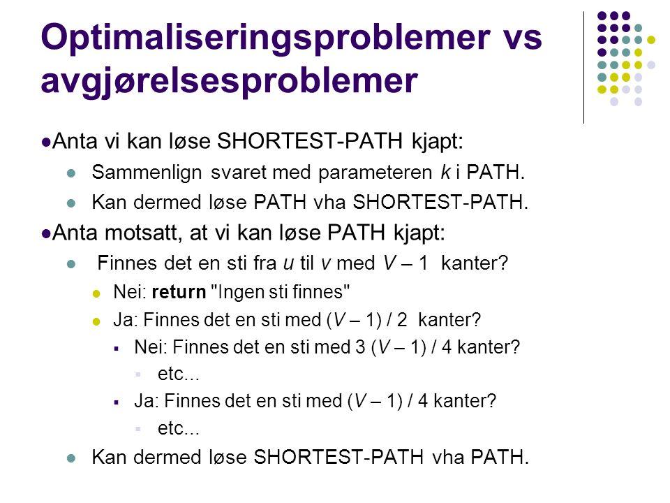 Anta vi kan løse SHORTEST-PATH kjapt: Sammenlign svaret med parameteren k i PATH.