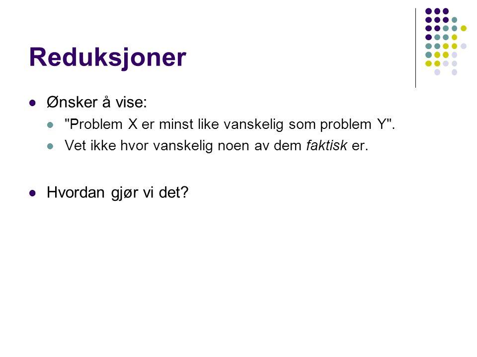 Reduksjoner Ønsker å vise: Problem X er minst like vanskelig som problem Y .