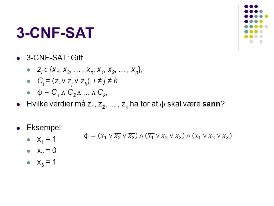 3-CNF-SAT 3-CNF-SAT: Gitt z i {x 1, x 2,..., x n, x 1, x 2,..., x n }, C t = (z i v z j v z k ), i ≠ j ≠ k ϕ = C 1 C 2...