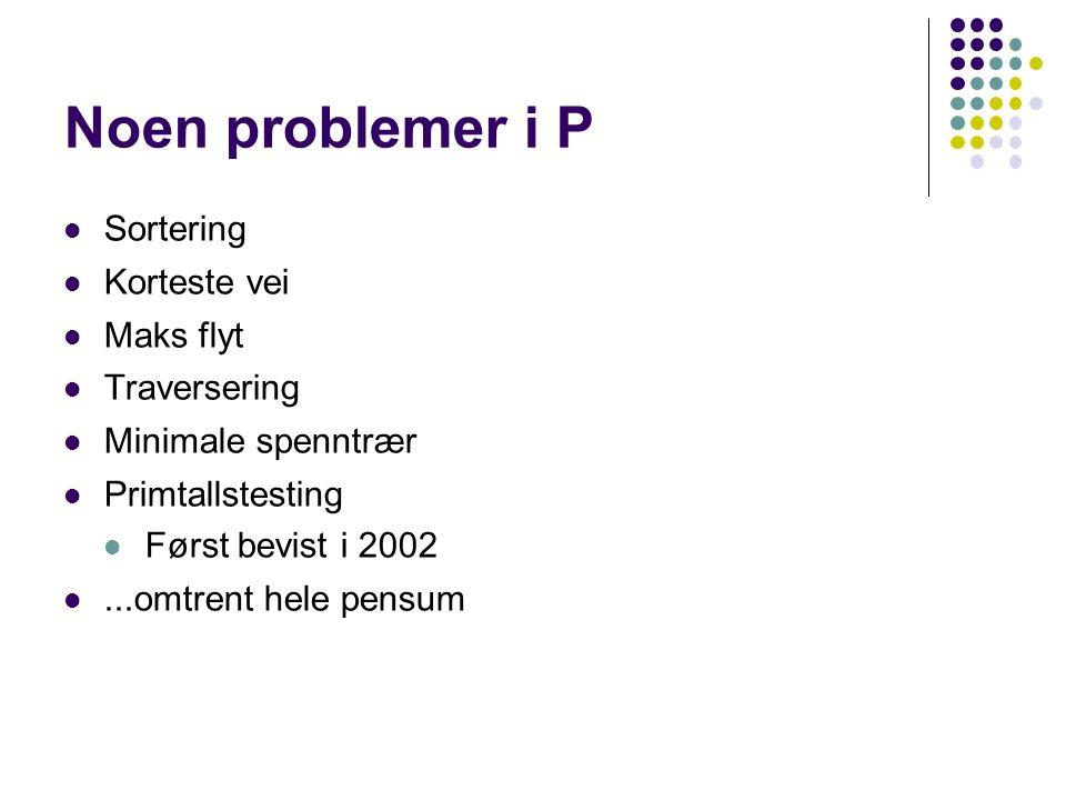 Noen problemer i P Sortering Korteste vei Maks flyt Traversering Minimale spenntrær Primtallstesting Først bevist i 2002...omtrent hele pensum