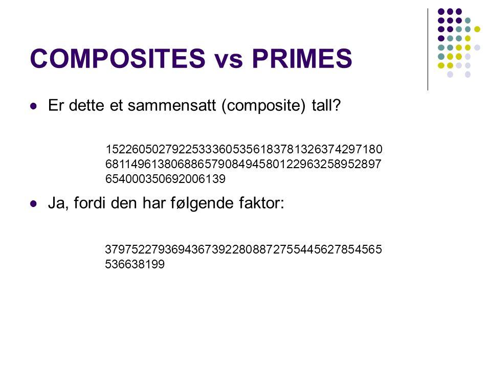 COMPOSITES vs PRIMES 15226050279225333605356183781326374297180 68114961380688657908494580122963258952897 654000350692006139 Er dette et sammensatt (composite) tall.