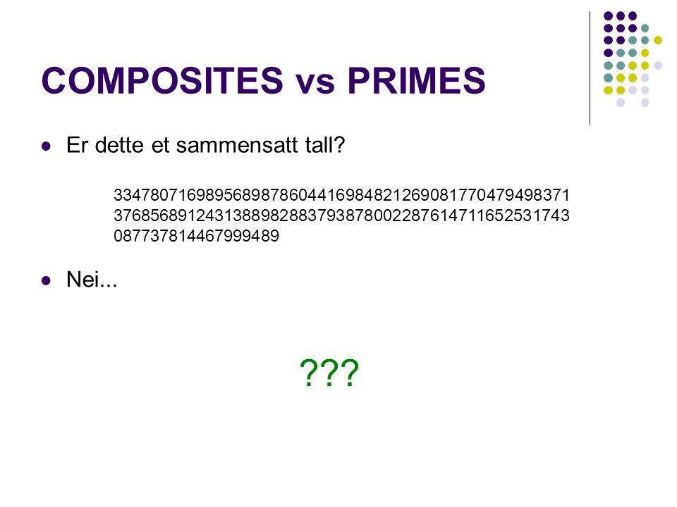 COMPOSITES vs PRIMES Er dette et sammensatt tall. Nei...