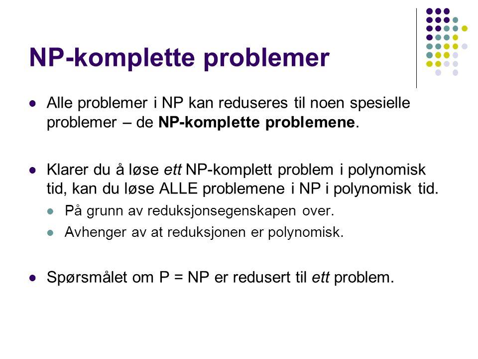 Alle problemer i NP kan reduseres til noen spesielle problemer – de NP-komplette problemene.