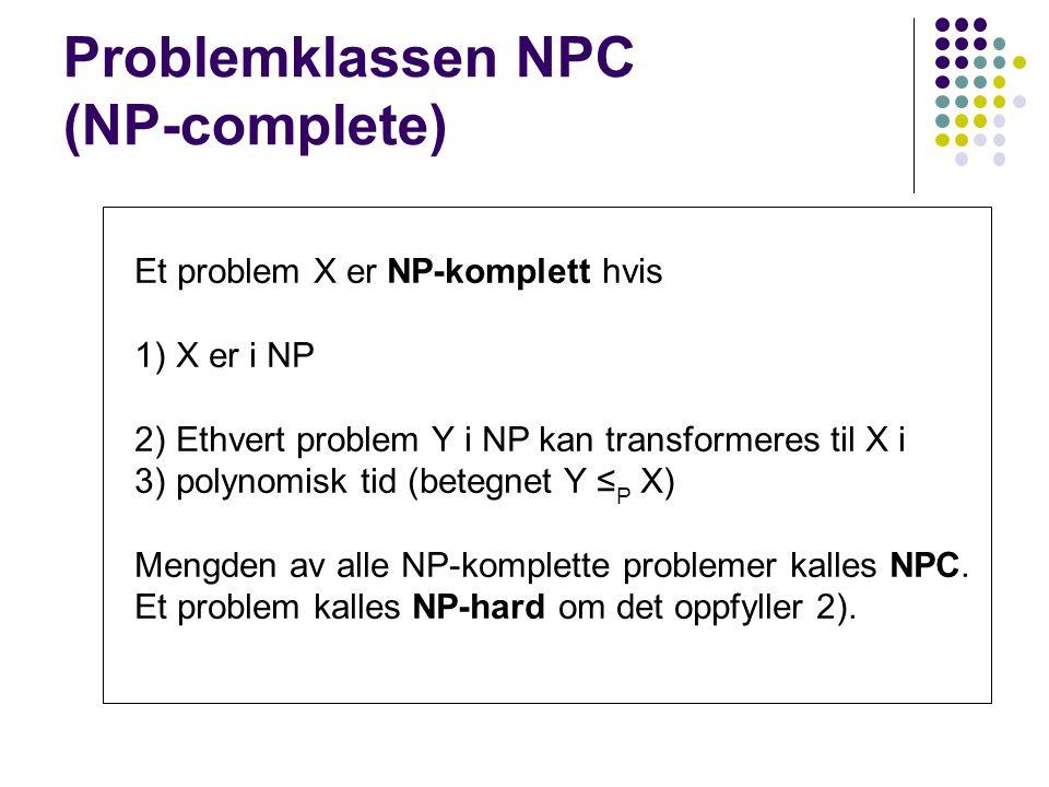 Problemklassen NPC (NP-complete) Et problem X er NP-komplett hvis 1) X er i NP 2) Ethvert problem Y i NP kan transformeres til X i 3) polynomisk tid (betegnet Y ≤ P X) Mengden av alle NP-komplette problemer kalles NPC.