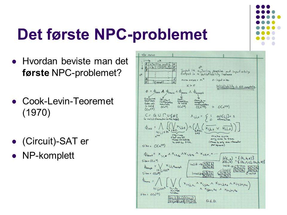 Det første NPC-problemet Hvordan beviste man det første NPC-problemet.
