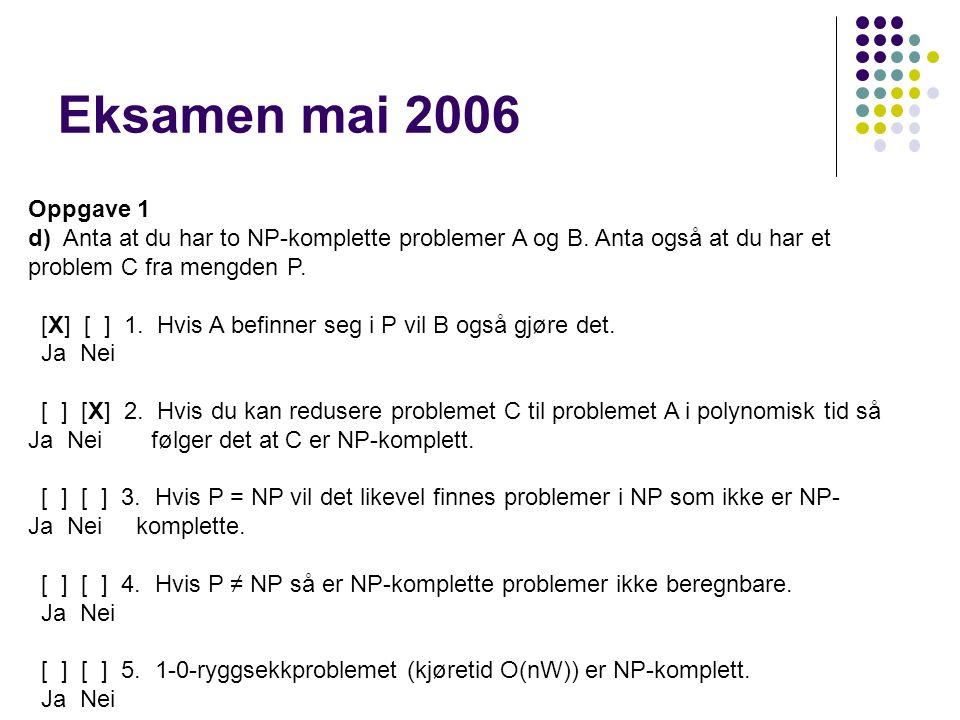 Eksamen mai 2006 Oppgave 1 d) Anta at du har to NP-komplette problemer A og B.