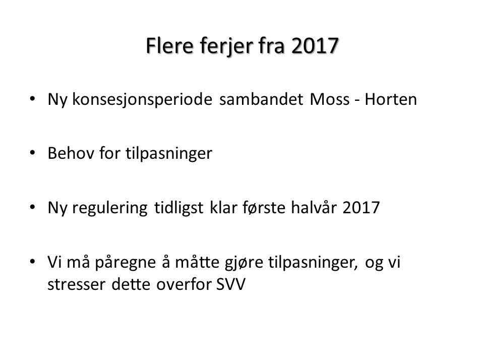 Flere ferjer fra 2017 Ny konsesjonsperiode sambandet Moss - Horten Behov for tilpasninger Ny regulering tidligst klar første halvår 2017 Vi må påregne å måtte gjøre tilpasninger, og vi stresser dette overfor SVV