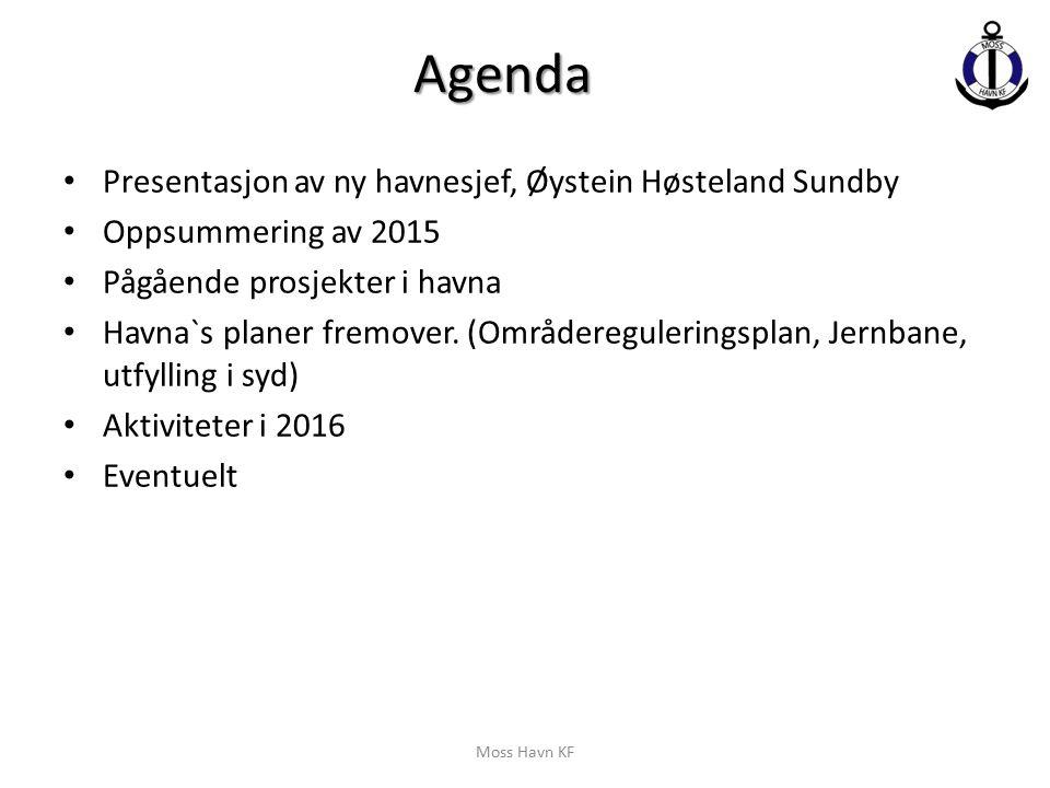 Agenda Presentasjon av ny havnesjef, Øystein Høsteland Sundby Oppsummering av 2015 Pågående prosjekter i havna Havna`s planer fremover. (Områdereguler