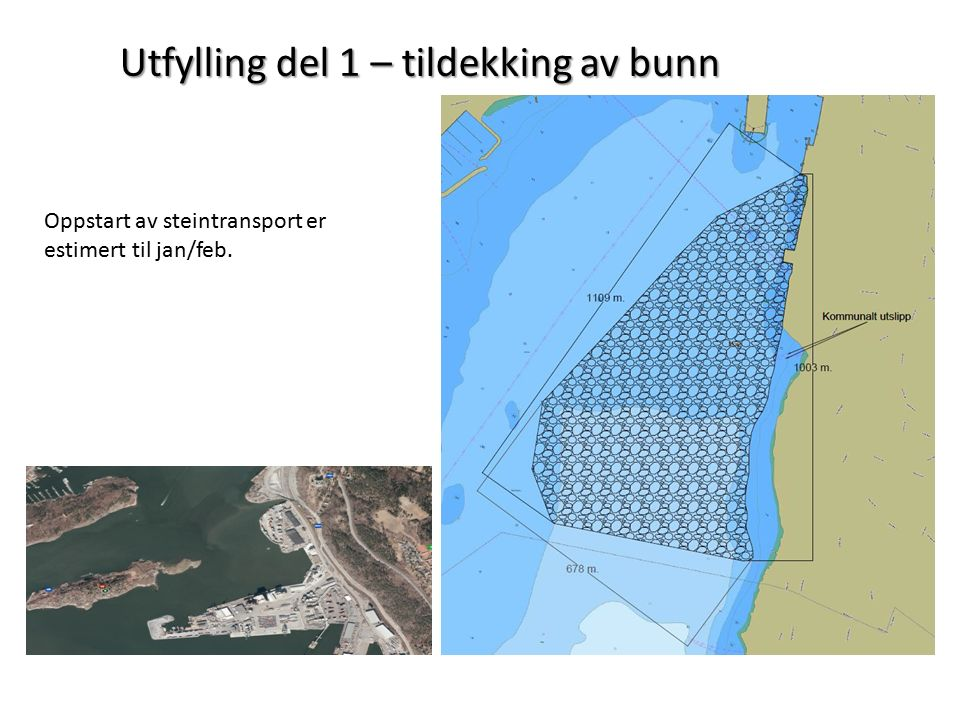 Utfylling del 1 – tildekking av bunn Oppstart av steintransport er estimert til jan/feb.