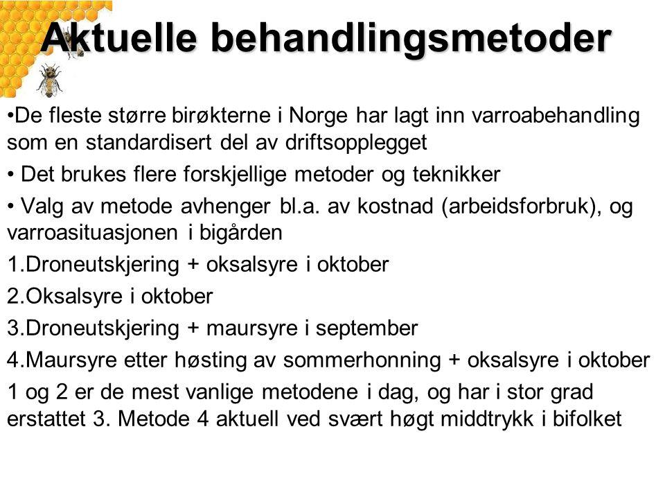 Aktuelle behandlingsmetoder De fleste større birøkterne i Norge har lagt inn varroabehandling som en standardisert del av driftsopplegget Det brukes flere forskjellige metoder og teknikker Valg av metode avhenger bl.a.