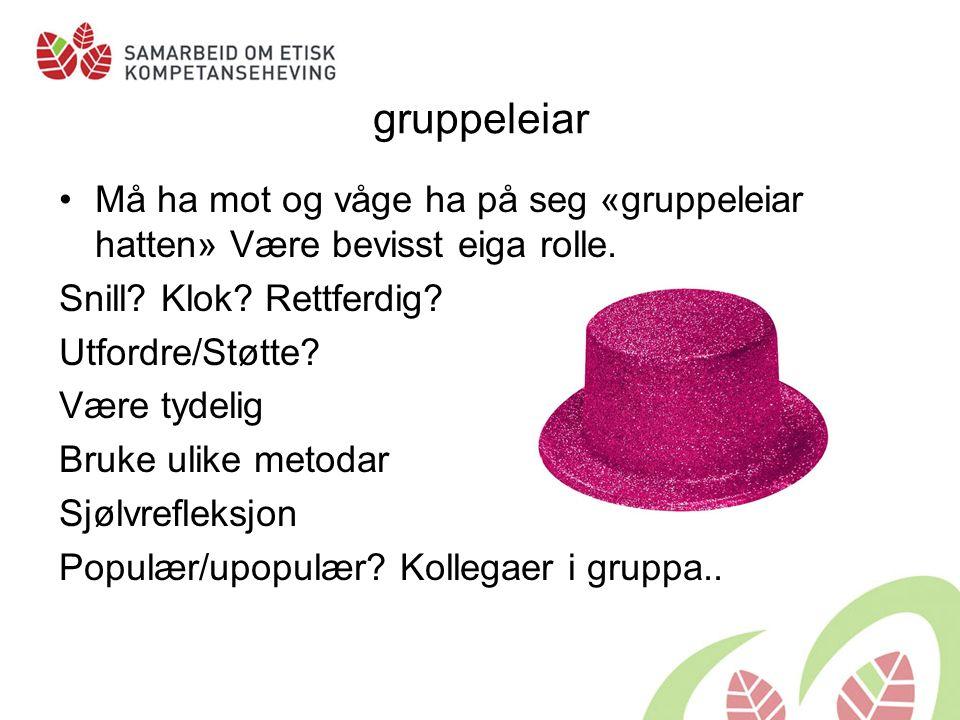 gruppeleiar Må ha mot og våge ha på seg «gruppeleiar hatten» Være bevisst eiga rolle.