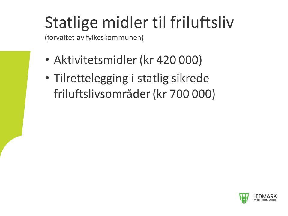 Statlige midler til friluftsliv (forvaltet av fylkeskommunen) Aktivitetsmidler (kr 420 000) Tilrettelegging i statlig sikrede friluftslivsområder (kr 700 000)