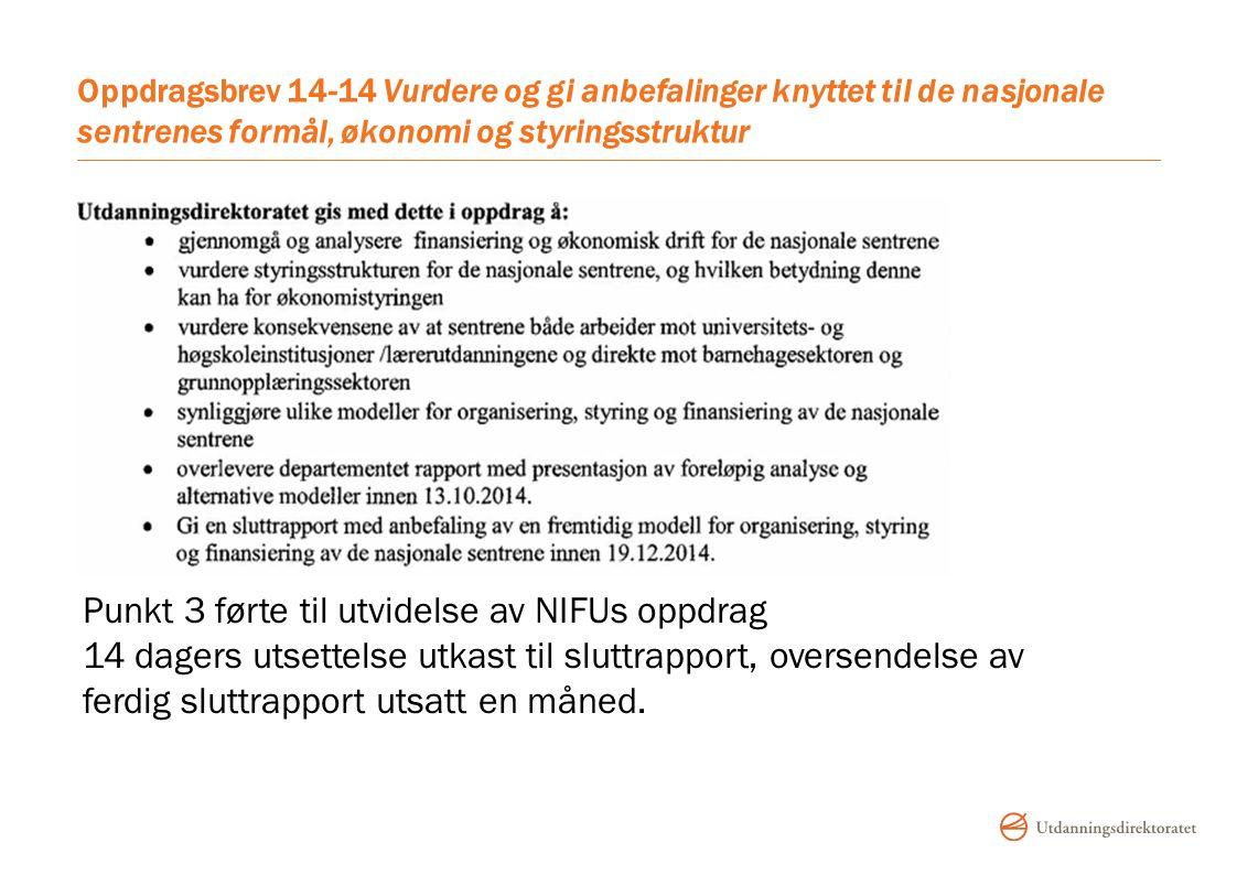 Oppdragsbrev 14-14 Vurdere og gi anbefalinger knyttet til de nasjonale sentrenes formål, økonomi og styringsstruktur Punkt 3 førte til utvidelse av NIFUs oppdrag 14 dagers utsettelse utkast til sluttrapport, oversendelse av ferdig sluttrapport utsatt en måned.