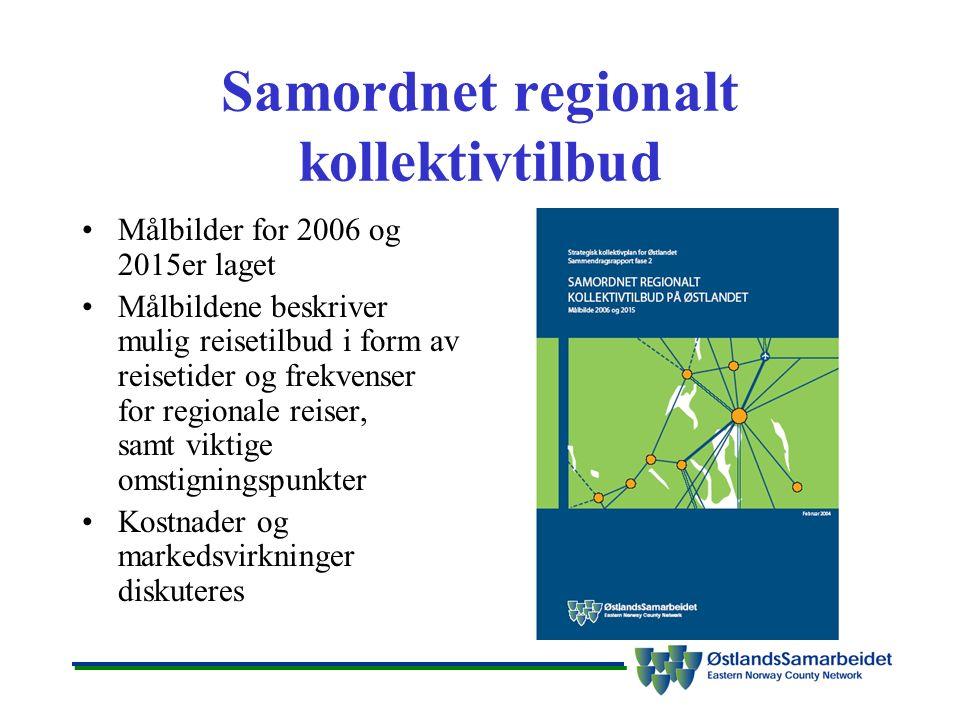 Samordnet regionalt kollektivtilbud Målbilder for 2006 og 2015er laget Målbildene beskriver mulig reisetilbud i form av reisetider og frekvenser for regionale reiser, samt viktige omstigningspunkter Kostnader og markedsvirkninger diskuteres