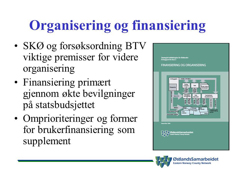 Organisering og finansiering SKØ og forsøksordning BTV viktige premisser for videre organisering Finansiering primært gjennom økte bevilgninger på statsbudsjettet Omprioriteringer og former for brukerfinansiering som supplement