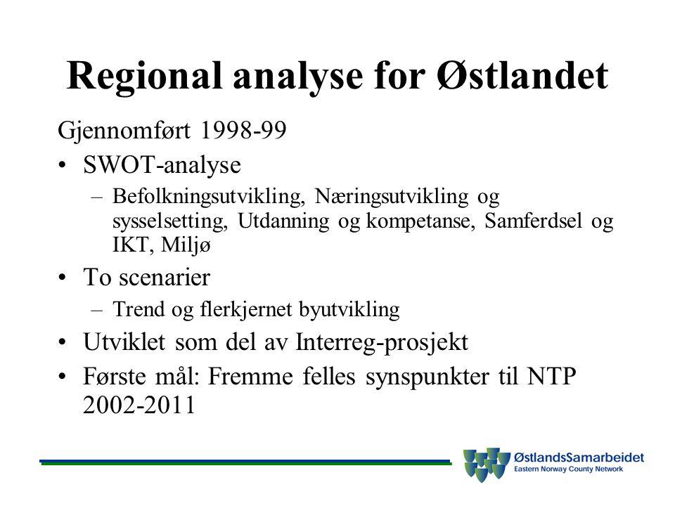 Regional analyse for Østlandet Gjennomført 1998-99 SWOT-analyse –Befolkningsutvikling, Næringsutvikling og sysselsetting, Utdanning og kompetanse, Samferdsel og IKT, Miljø To scenarier –Trend og flerkjernet byutvikling Utviklet som del av Interreg-prosjekt Første mål: Fremme felles synspunkter til NTP 2002-2011