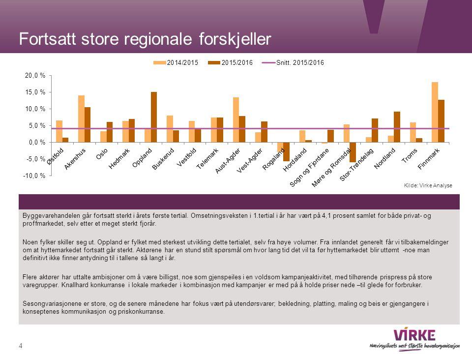 Fortsatt store regionale forskjeller Byggevarehandelen går fortsatt sterkt i årets første tertial.