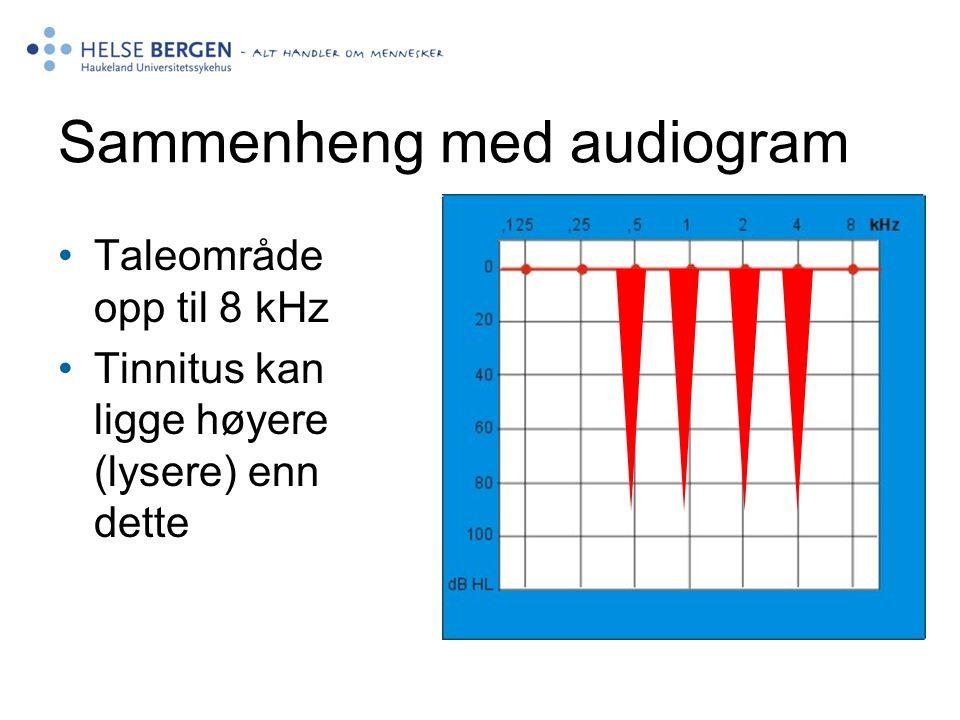 Sammenheng med audiogram Taleområde opp til 8 kHz Tinnitus kan ligge høyere (lysere) enn dette