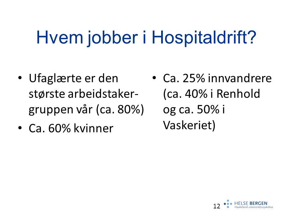 Hvem jobber i Hospitaldrift. Ufaglærte er den største arbeidstaker- gruppen vår (ca.