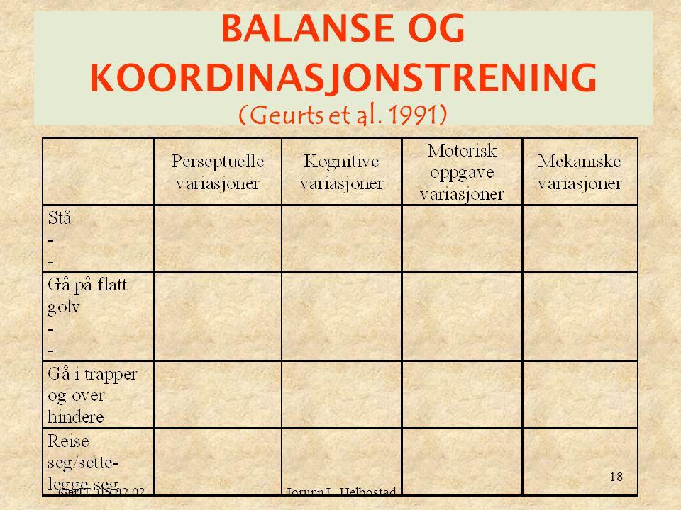 GerIT 05.02.02Jorunn L. Helbostad 18 BALANSE OG KOORDINASJONSTRENING (Geurts et al. 1991)