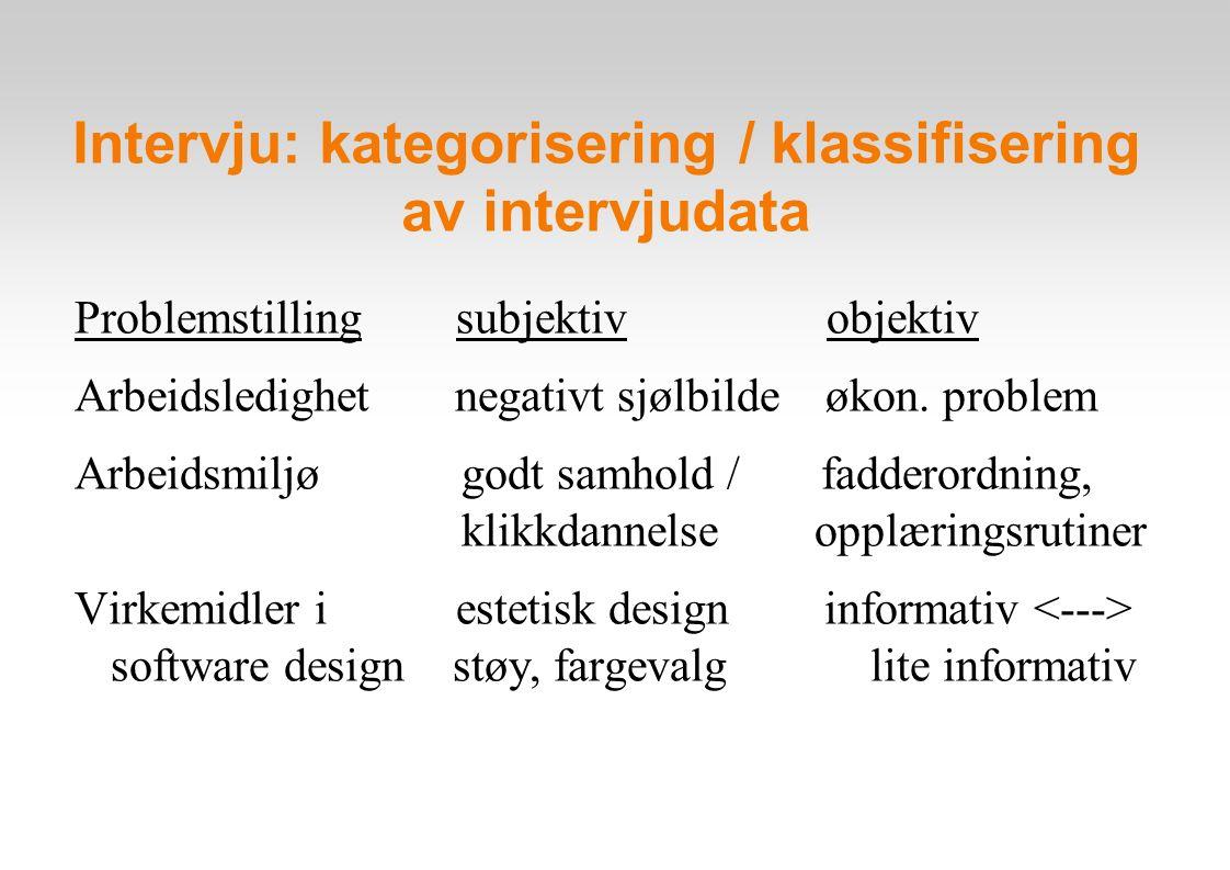 Intervju: kategorisering / klassifisering av intervjudata Problemstilling subjektiv objektiv Arbeidsledighet negativt sjølbilde økon.