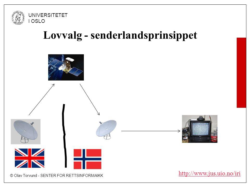 © Olav Torvund - SENTER FOR RETTSINFORMAIKK UNIVERSITETET I OSLO http://www.jus.uio.no/iri Lovvalg - senderlandsprinsippet