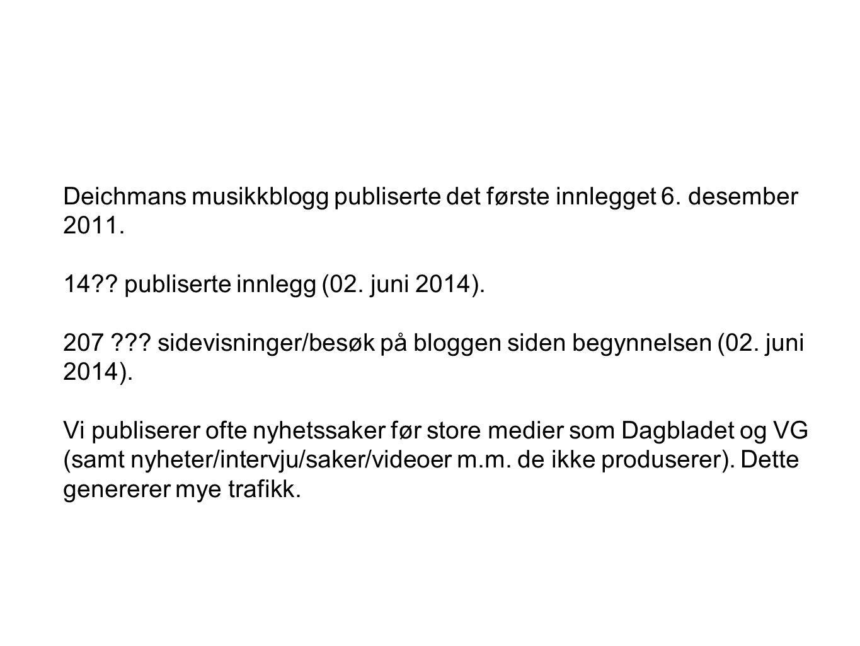 Deichmans musikkblogg publiserte det første innlegget 6. desember 2011. 14?? publiserte innlegg (02. juni 2014). 207 ??? sidevisninger/besøk på blogge