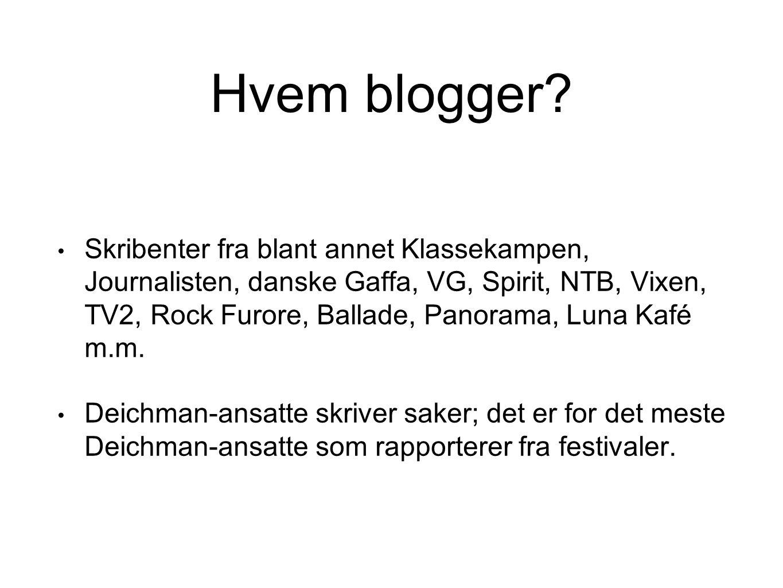 Hvem blogger? Skribenter fra blant annet Klassekampen, Journalisten, danske Gaffa, VG, Spirit, NTB, Vixen, TV2, Rock Furore, Ballade, Panorama, Luna K