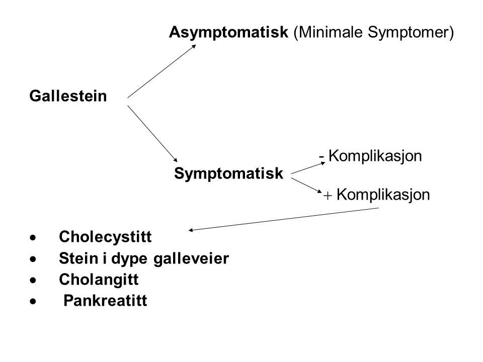 Cholecystitt - behandling Ideelt snarlig operasjon (innen 4-5 dager) Konservativ –Analgetika –Væsketilførsel iv –Antibiotika Operasjon etter ca 3 måneder Kolecystitt er den hyppigste komplikasjon til gallesteinsykdom og den nest vanligste operasjonsindikasjon