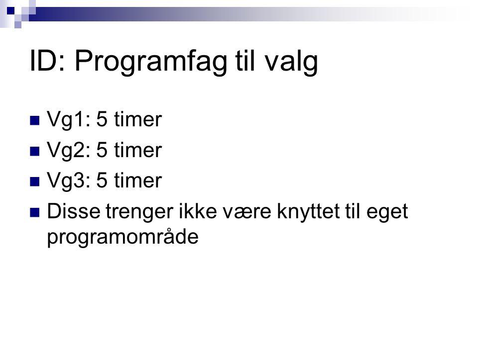 ID: Programfag til valg Vg1: 5 timer Vg2: 5 timer Vg3: 5 timer Disse trenger ikke være knyttet til eget programområde