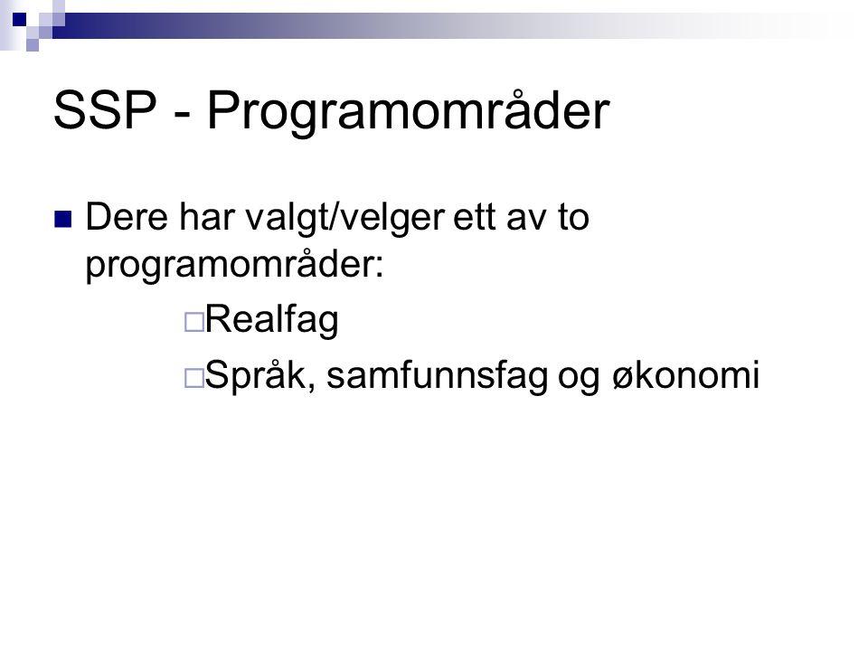 SSP - Programområder Dere har valgt/velger ett av to programområder:  Realfag  Språk, samfunnsfag og økonomi