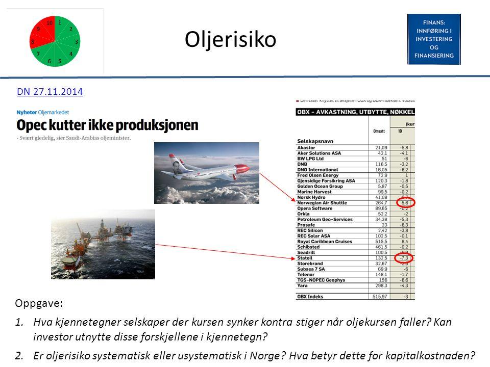 Oljerisiko Oppgave: 1.Hva kjennetegner selskaper der kursen synker kontra stiger når oljekursen faller.