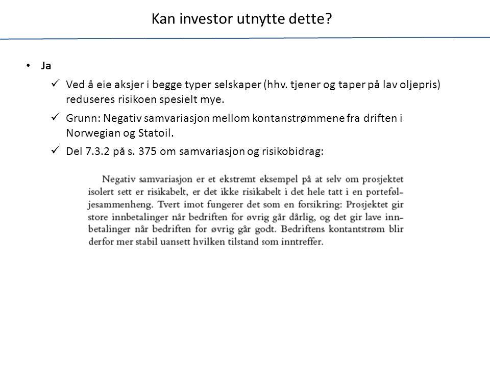 Er oljerisiko systematisk eller usystematisk.Oljeinntektene utgjør ca 25 % av norsk økonomi.