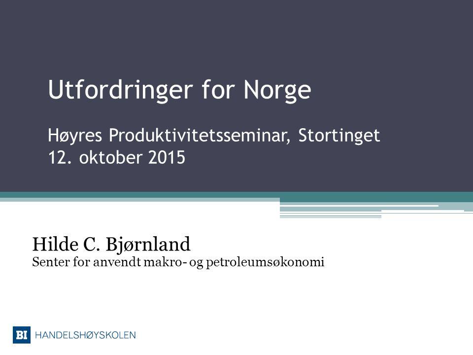 Utfordringer for Norge Høyres Produktivitetsseminar, Stortinget 12. oktober 2015 Hilde C. Bjørnland Senter for anvendt makro- og petroleumsøkonomi